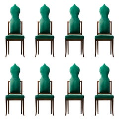 Set of 8 Tommi Parzinger Style Dining Chairs in Green Velvet with Walnut Frames