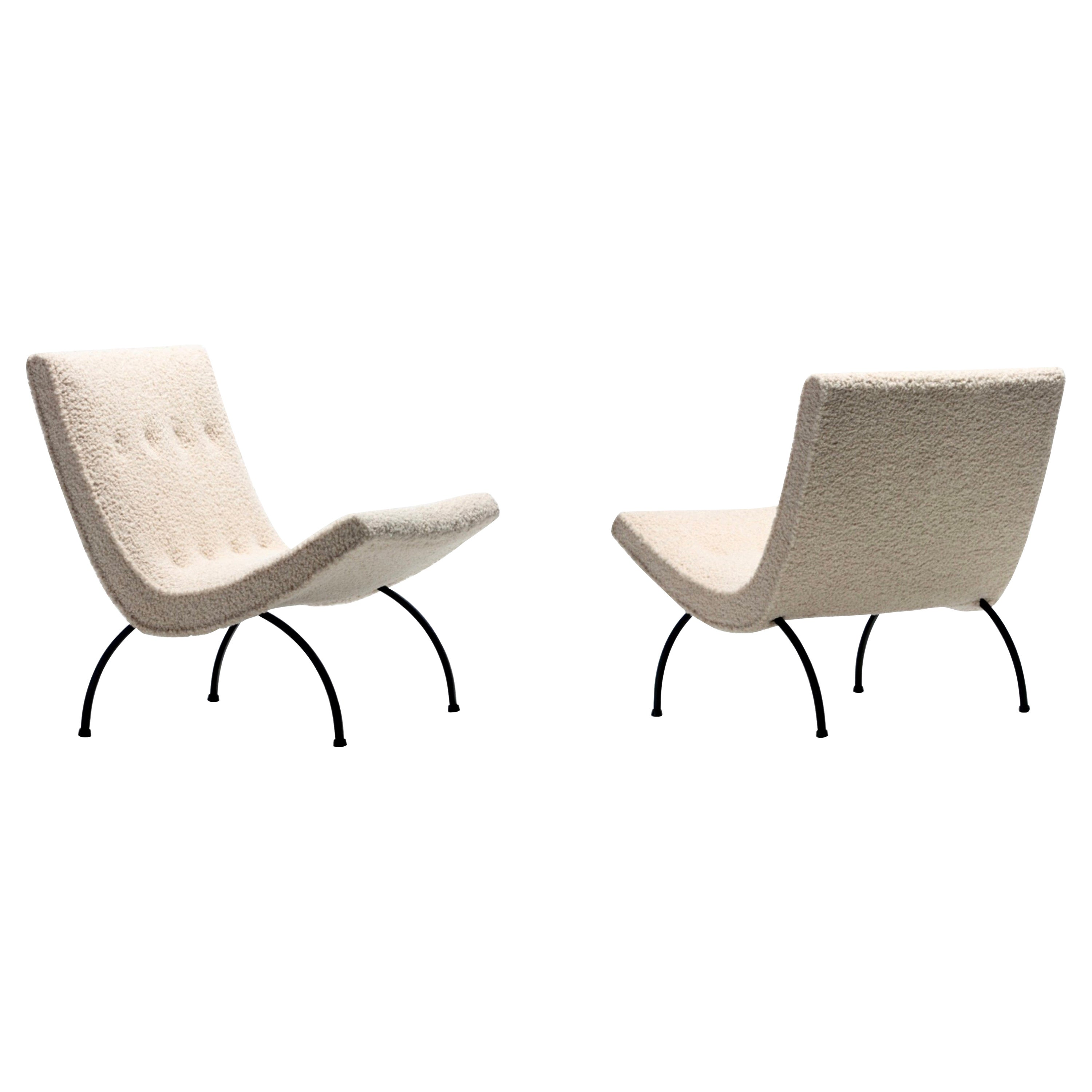 Pair of Milo Baughman Scoop Chairs in Ivory Bouclé with Iron Legs c. 1950s