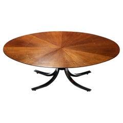 Osvaldo Borsani Walnut & Stainless Steel Oval Dining Table, c. 1970s