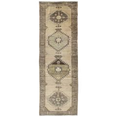 Vintage Oushak Runner Influence by Ottoman Designs