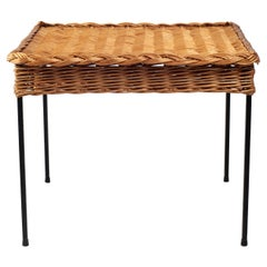 French Hand-Woven Rattan Coffee Table 1960s