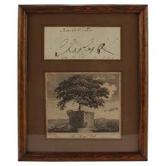 Framed King Charles II of England Signature and Royal Oak Print
