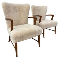 Pair of Paola Buffa Style Italian Lounge Chairs in Neutral Sheepskin