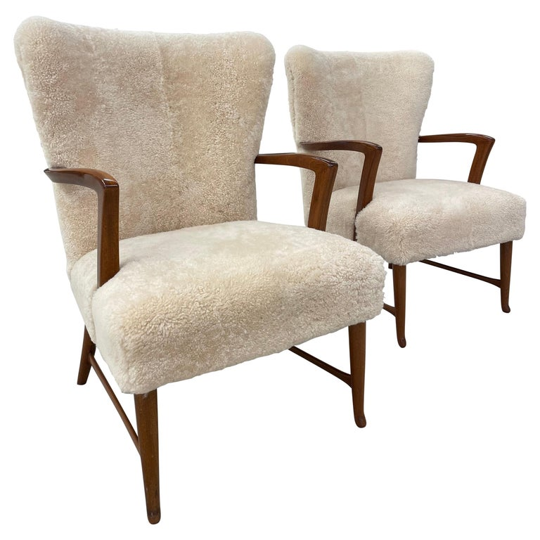 Pair of Paola Buffa Style Italian Lounge Chairs in Neutral Sheepskin For Sale