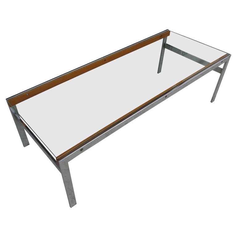 Mid Century Glass Top Chrome Wood Coffee Table For Sale