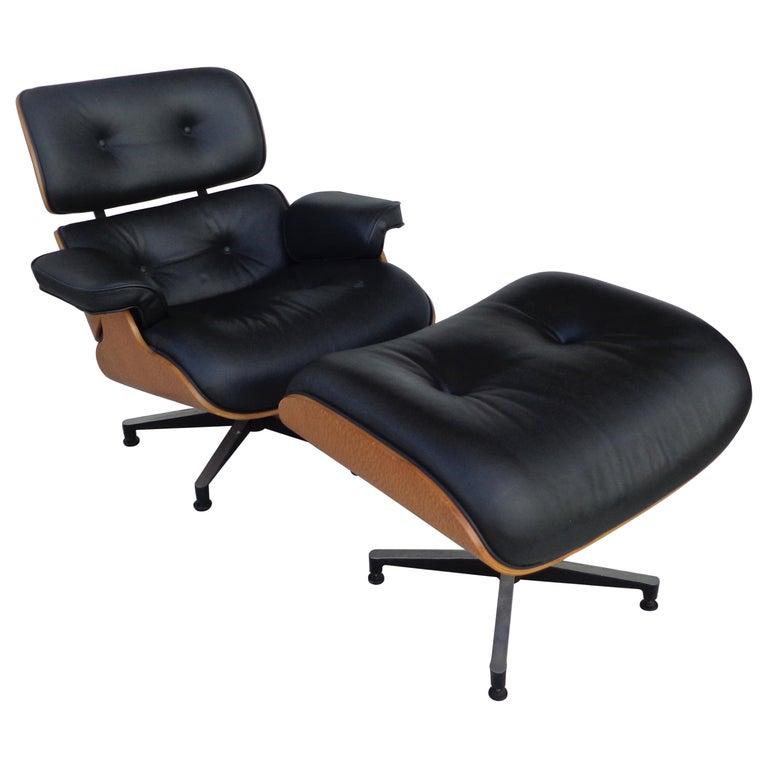 Black Brazilian Artesia Eames Lounge and Ottoman  For Sale