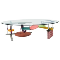 Peter Shire Coffee Table, Multi Color Steel & Aluminum with Oval Glass Top