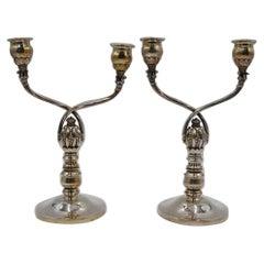 Georg Jensen Sterling Silver Twin Light Candelabra No 343