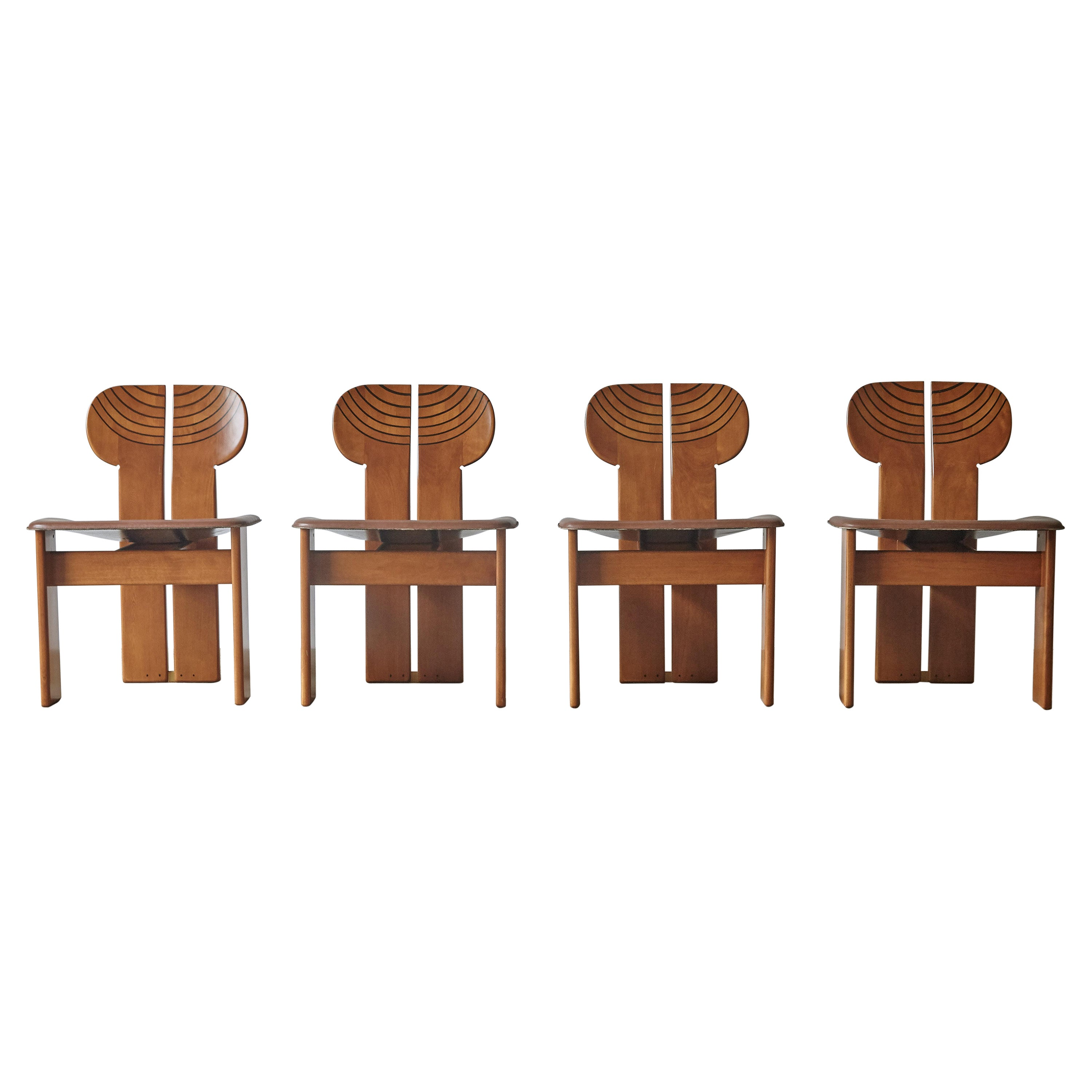 Set of Four Africa Chairs by Afra & Tobia Scarpa, Maxalto, Italy, 1970s-1980s