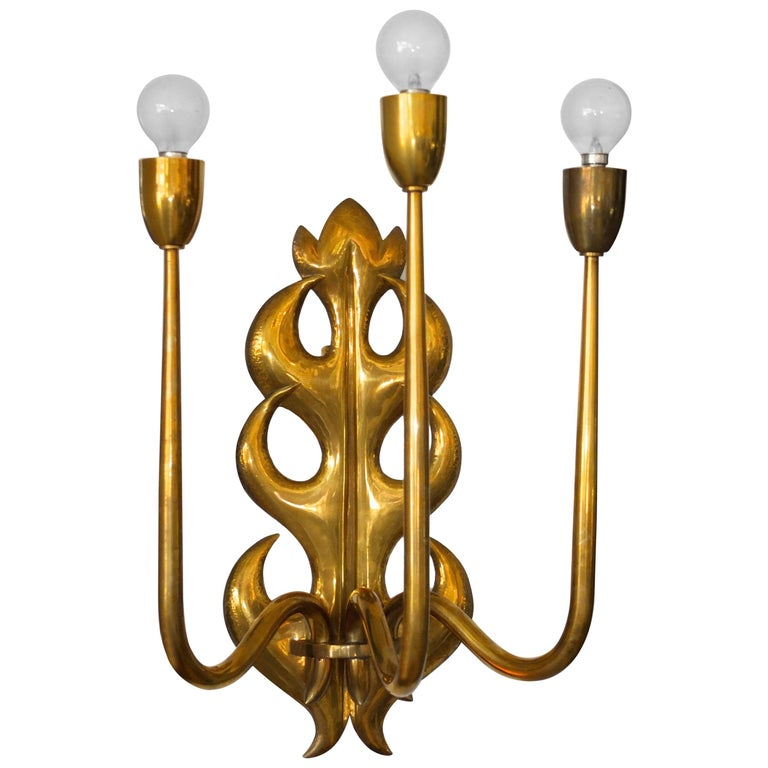 Italian Brass Three Branch Sconce  For Sale