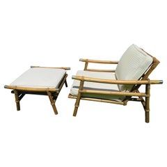 John Wisner for Ficks Reed Rattan Campaign Lounge Chair and Ottoman Mid-Century