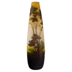 Antique Emile Gallé Vase in Yellow Frosted and Dark Art Glass, Early 20th C.