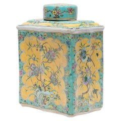 Chinese Yellow and Turquoise Famille Rose Tea Leaf Jar