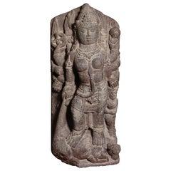 9th Century Stone Durga from Java-Stone Masterpiece, Large, Authentic - 9198