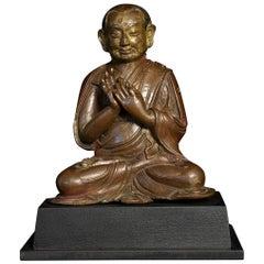 18thC or Earlier Tibet Bronze Buddhist Monk, Best Qulity, Authentic - 7711
