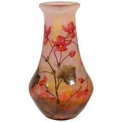 Art Nouveau Cameo Vase with Rose Colored Flowers, Daum Nancy, France, 1910/15