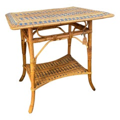French Rattan Table from France, Art Nouveau