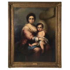 19th Century Italian Oil on Canvas of Madonna and Child