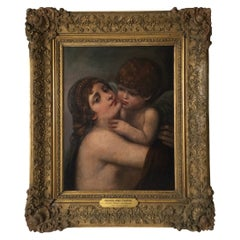 Oil Painting on Canvas of Venus and Cupid After Peter-Paul Prud'hon 19th Century