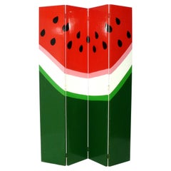 Colorful Hand Painted Watermelon Folding Screen