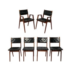 Mel Smilow Woven Leather Strap Dining Chairs