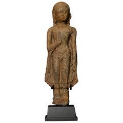 13thC Northern Thai Haripunchai Terracotta Standing Buddha-Rare - 7762