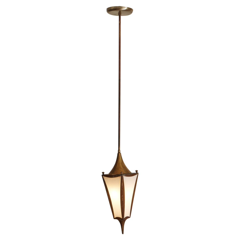 Petite Copper Italian Lantern Pendant Light, 1960s