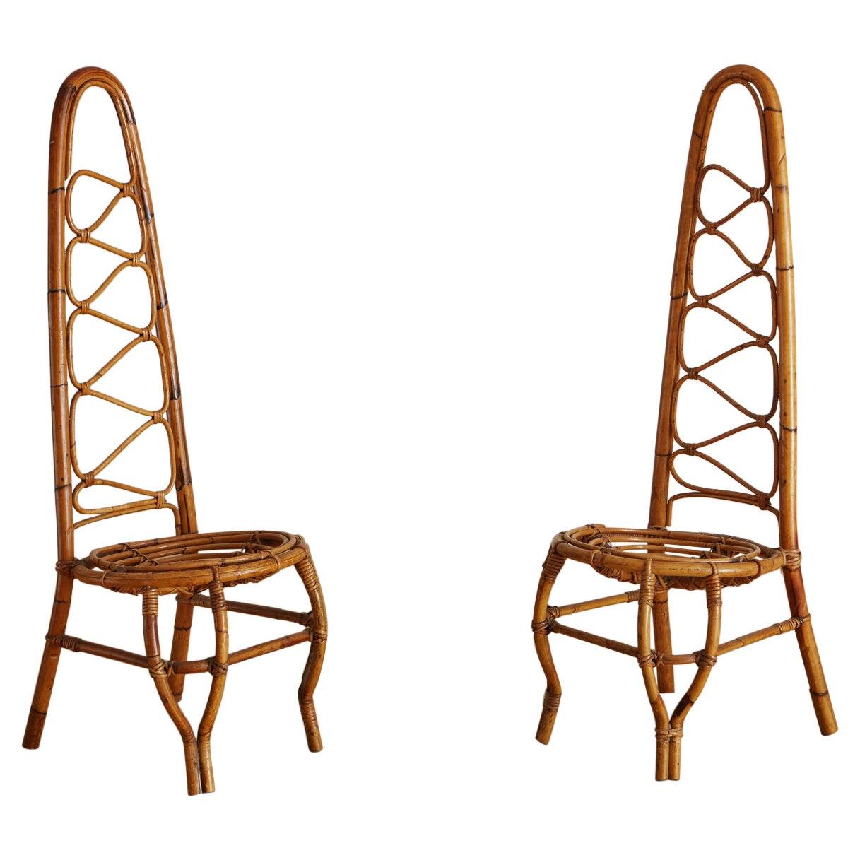 Pair of Italian Rattan Chairs, 1960s