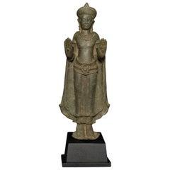 12/13thC Cambodian Standing Bronze Buddha - 7765