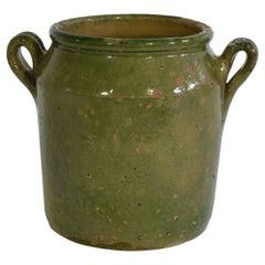 French 19th Century Green Glazed Ceramic Jar