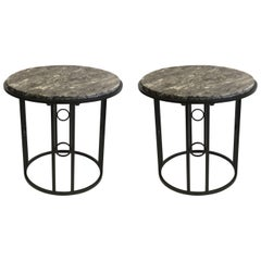Pair Large French Modern Neoclassical / Art Deco Iron Side Tables w. Schist Tops