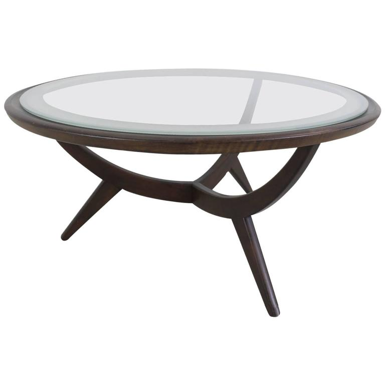 Cesare Lacca Style Round Coffee Table With Frosted Edge Glass Top For Sale At 1stdibs