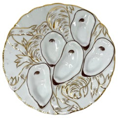 Antique German Hand-Painted Gold & White Porcelain Oyster Plate, Circa 1880's