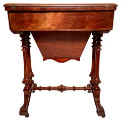 Antique English Black Walnut Games Table with Satinwood Inlay, Circa 1860s.