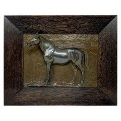 Estate Old Bronze Horse Racing Trophy Wall Plaque, Circa 1950's