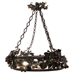 Antique French Wrought Iron & Glass Chandelier, Grapes & Pears Motif, Circa 1890