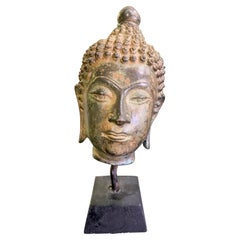 Bronze Thai Siam Asian Temple Shrine Buddha Head Sculpture on Wood Stand