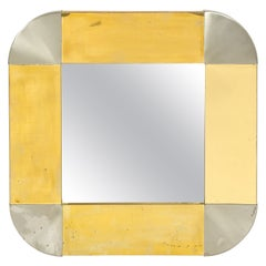 Mixed Metal Brass and Steel Square Mirror by C. Jere, USA 1960's