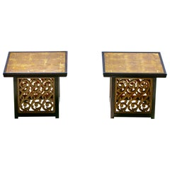 Pair of Widdicomb End Tables with Verre Églomisé Top and Resin Sides, circa 1960