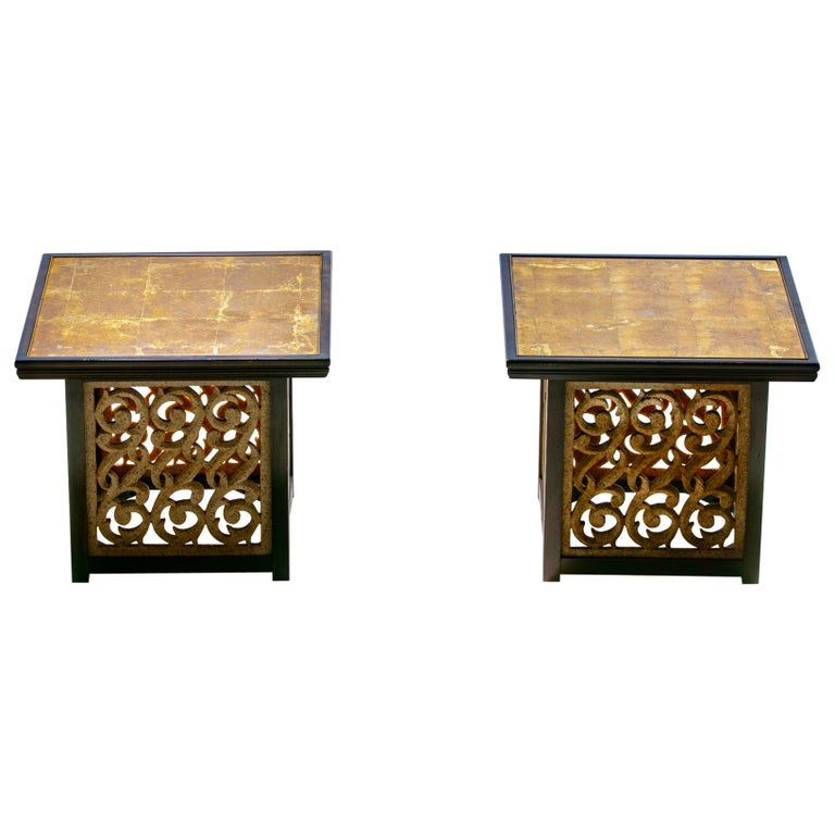 Pair of Widdicomb End Tables with Verre Églomisé Top and Resin Sides, circa 1960 For Sale