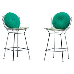 Harry Bertoia for Knoll Bar Stools in Custom Italian Parker Hotel Style Cushions