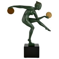 Art Deco sculpture nude disc dancer Derenne, Marcel Bouraine France 1930