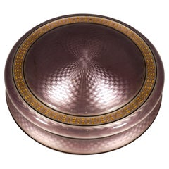 Large Round Silver Gilded Guilloche-Enamel Box with Delicate Decoration, c 1900