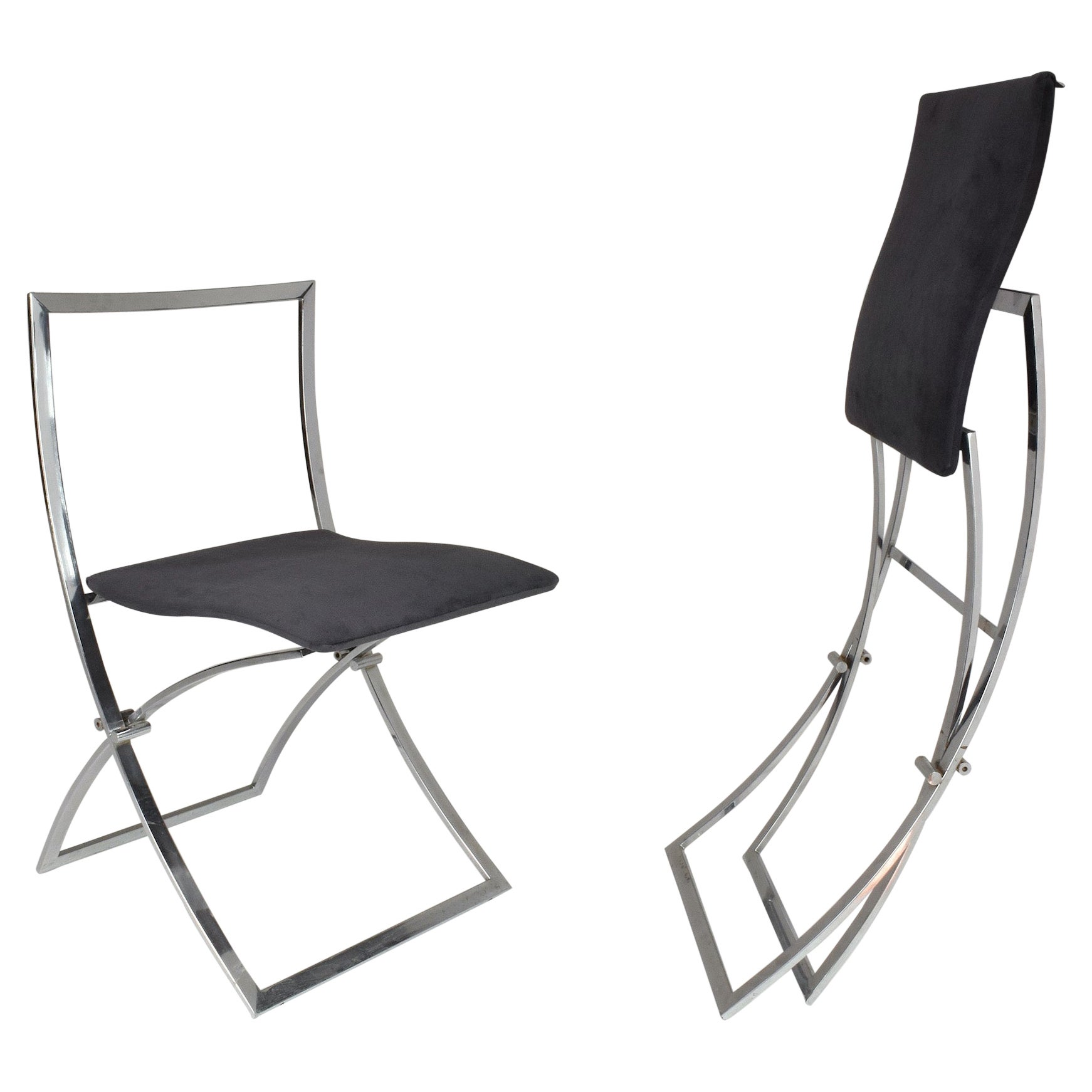 1970's Italian Marcello Cuneo Chrome Foldable Chairs