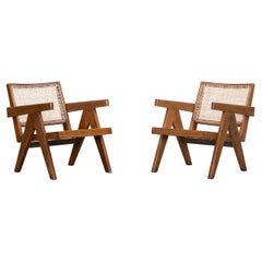 1950s Brown Wooden Teak and Cane Lounge Chairs by Pierre Jeanneret 'l'