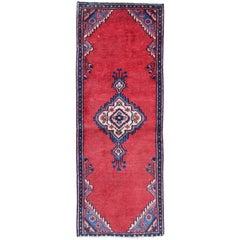 Red Wool Runner Rug Handmade Wool Oriental Area Carpet