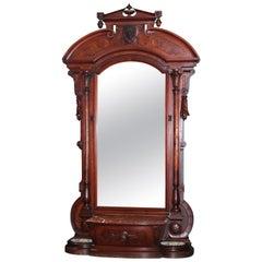 Monumental Antique Jelliff Renaissance Revival Figural Walnut & Burl Pier Mirror