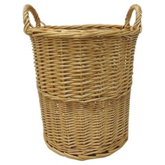 Round Woven Basket or Wastebasket with Handles