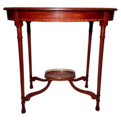 Antique English Mahogany with Inlay Oval Occasional Table, Circa 1880