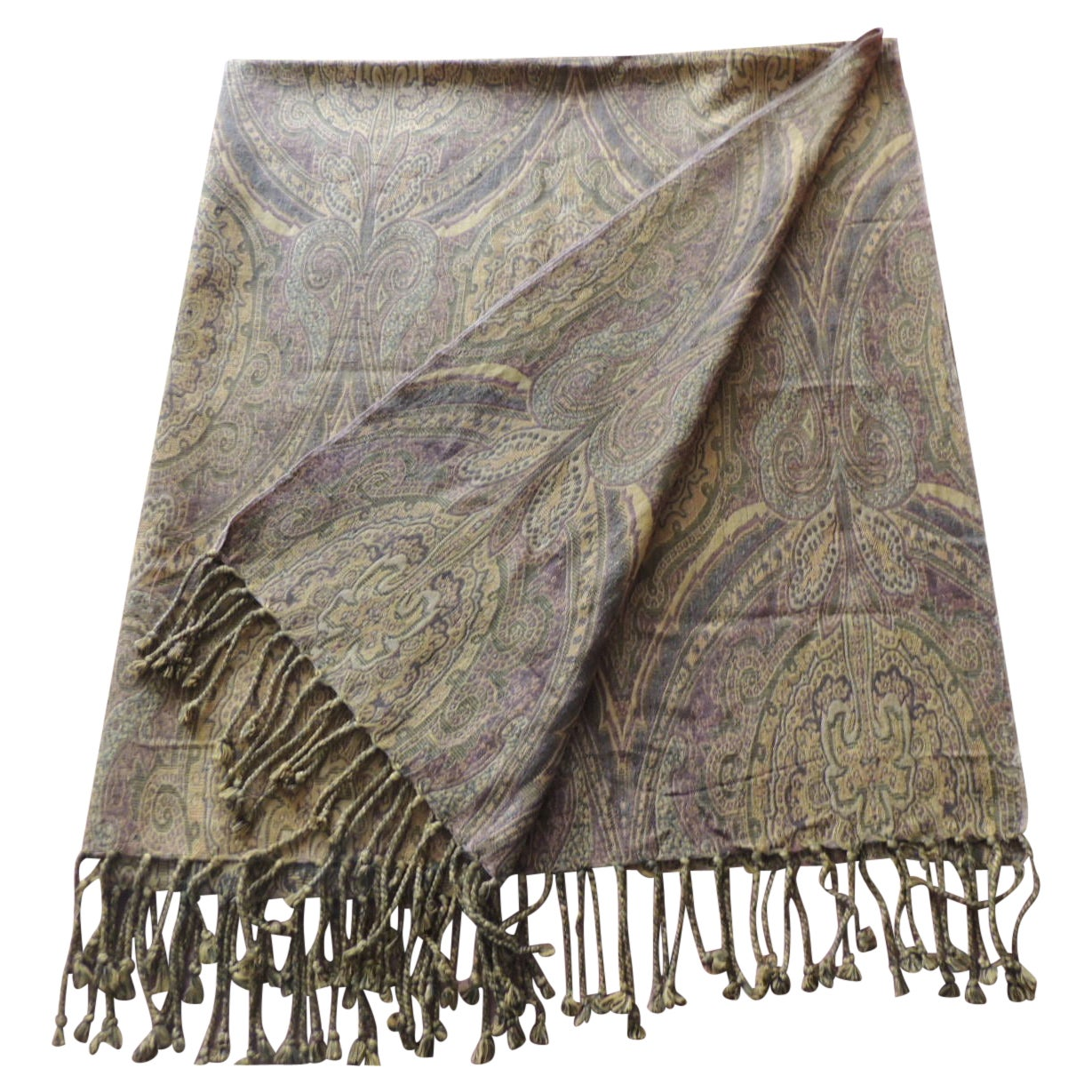 Yellow Woven Cotton Paisley Throw with Fringes